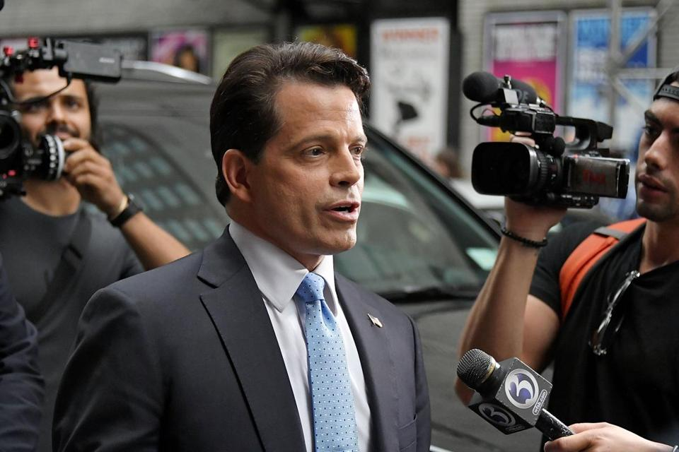 Former White House communications director Anthony Scaramucci departed the Ed Sullivan Theater in New York after appearing on Stephen Colbert's show.
