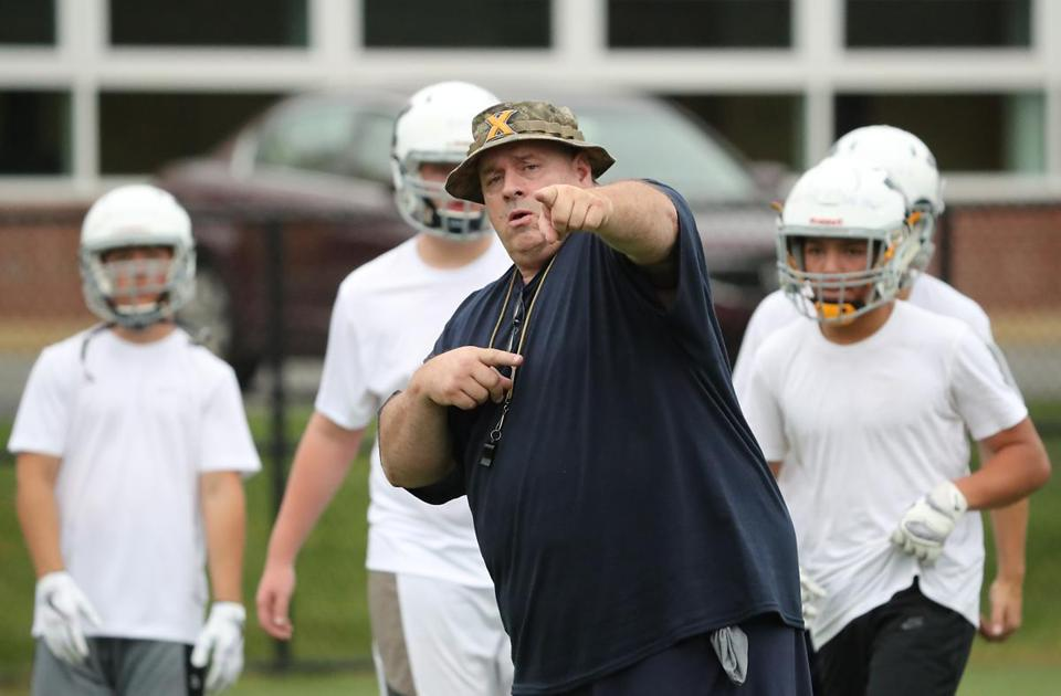 Westwood Ma 8/14/17 Xaverian Brothers head football coach coach Al Fornaro during Xaverian Brothers 1st day of MIAA football conditioning drills on their practice field. (Matthew J. Lee/Globe staff) topic: reporter: Henry Brechter