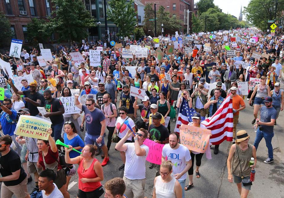 Boston-8/19/17 A Free Speech rally was held on Boston Common as counter protesters marched down Tremont Street to Boston Common. John Tlumacki/Globe Staff(metro)