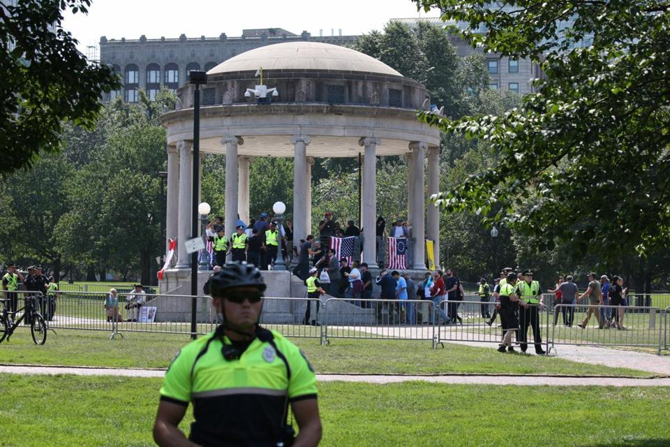Police were out in force Saturday at the Parkman Bandstand, where free speech advocates held a brief rally, well separated from counterdemonstrators.