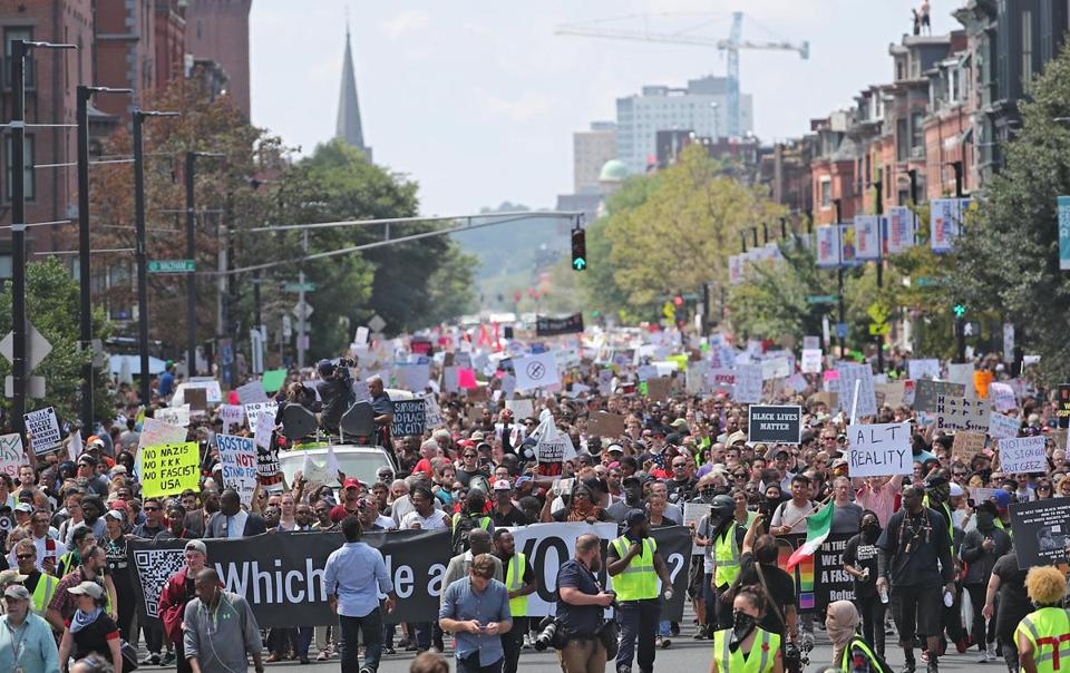 "Boston Ma 8/19/17 Thousands of counter-protesters marching down Tremont Street to confront right-wing ""free speech"" demonstrators in the Boston Common. (Matthew J. Lee/Globe staff) topic: reporter:"