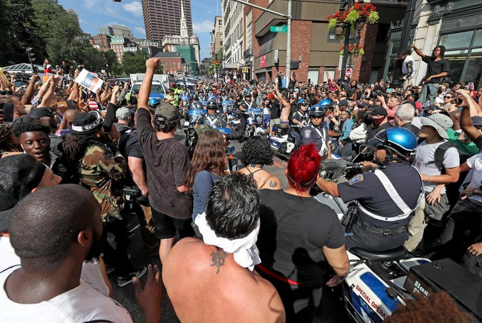 BOSTON, MA - 8/19/2017: Police try to clear Tremont Street of demonstrators...Free Speech rally and counter protests. (David L Ryan/Globe Staff ) SECTION: METRO TOPIC 20rally photos (only)