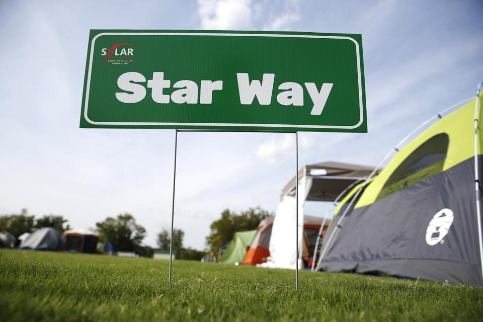 Hopkinsville, KY -- 8/19/2017 - Star Way marks a street in a makeshift campground in Hopkinsville city nearest the point of greatest eclipse. (Jessica Rinaldi/Globe Staff) Topic: 21EclipseNashville Reporter: Nestor Ramos
