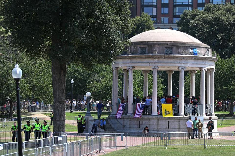 "Boston, MA- August 19, 2017: ""Boston Free Speech"" rally at the Boston Common, Boston, MA on August 19, 2017. Thousands of protesters are expected to flood downtown Boston Saturday, with the ""Boston Free Speech"" rally on Boston Common likely surrounded by several different counter-actions. (CRAIG F. WALKER/GLOBE STAFF) section: metro reporter:"