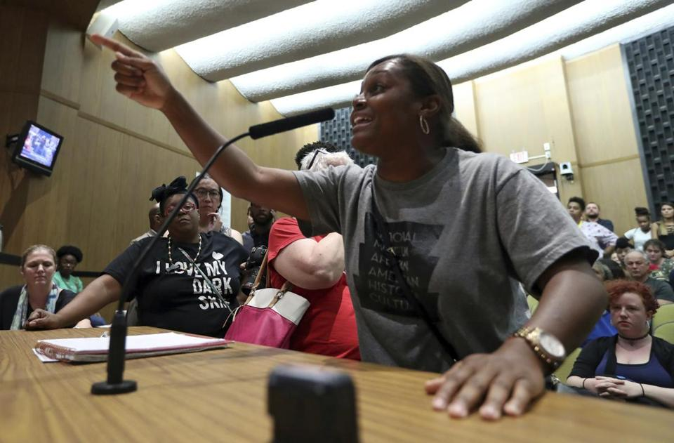 Tanesha Hudson addressed the Charlottesville City Council during a meeting Monday.