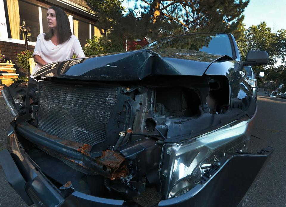 Denise Roney's car was hit by an MBTA vehicle.