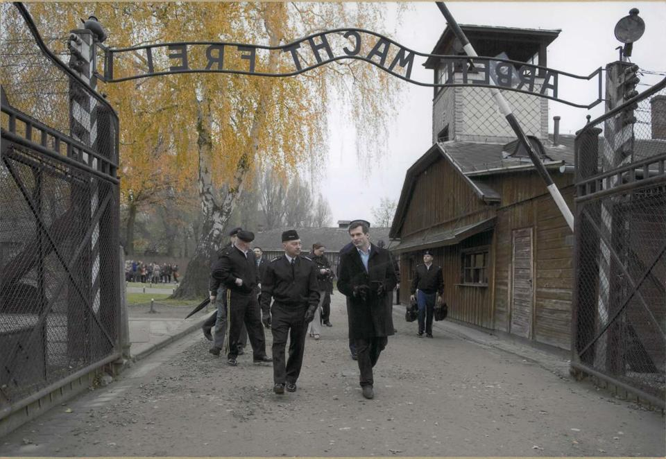 As supreme allied commander of the NATO alliance, Admiral James Stavridis, front left, toured Auschwitz.