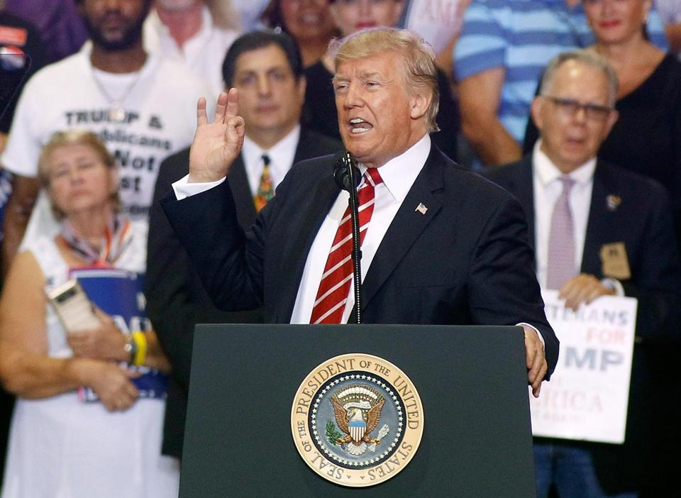 President Trump spoke Tuesday to supporters in Phoenix.
