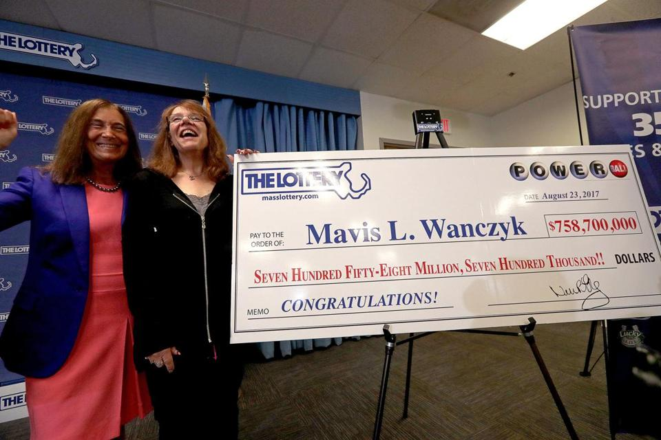 Powerball jackpot winner Mavis Wanczyk (right) with Mass. State Treasurer Deborah Goldberg.