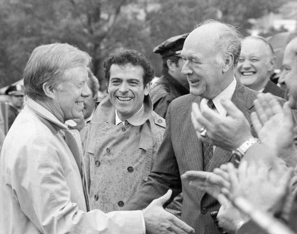Mr. Andrus (right) and Jimmy Carter succeeded in saving more than 100 million acres in Alaska for parks and reserves.