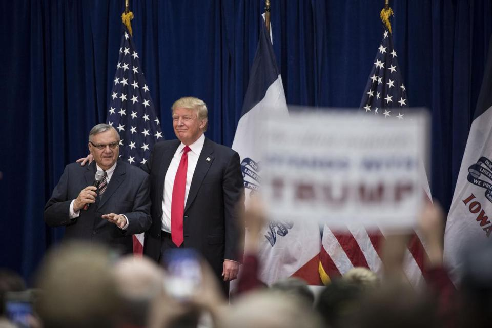 FILE Ñ Joe Arpaio, the Maricopa County sheriff, campaigns on behalf of Donald Trump in Marshalltown, Iowa, Jan. 26, 2016. Arpaio, the former Arizona sheriff whose aggressive efforts to hunt and detain undocumented immigrants made him a divisive national symbol and earned him a criminal contempt conviction, was pardoned by Trump on Aug. 25, 2017. (Damon Winter/The New York Times)