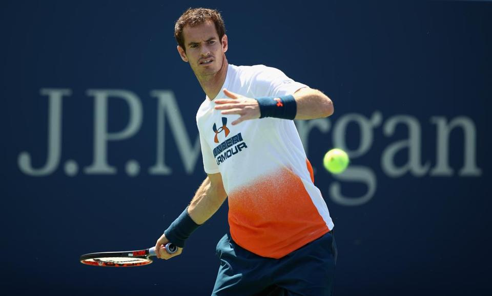 NEW YORK, NY - AUGUST 26: Andy Murray of Great Britian in action during a practice session prior to the US Open Tennis Championships at USTA Billie Jean King National Tennis Center on August 26, 2017 in New York City. (Photo by Clive Brunskill/Getty Images)