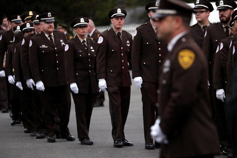Randolph, MA - 8/29/2017 - Boston EMS and other public officials during a walk by at tonight's wake for Wake for Boston EMS Captain Robert Haley at Cartwright Funeral Home in Randolph. - (Barry Chin/Globe Staff), Section: Metro, Reporter: Unknown, Topic: 30EMS, LOID: 8.3.3573017295.