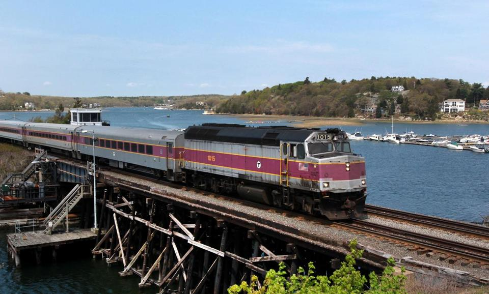 05-15-14, Gloucester, MA: Rockport bound MBTA commuter rail train crosses bridge over the Annisquam River in Gloucester, Mass. May 15, 2014. Photo/John Blanding, Boston Globe staff story/, Business ( 052514location )