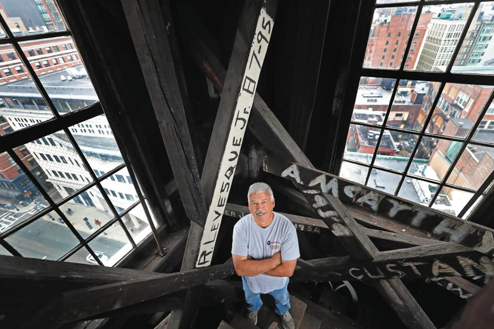 Bob Levesque with American Steeple & Tower Company of Salem will lead the restoration of Park Street's historic steeple.