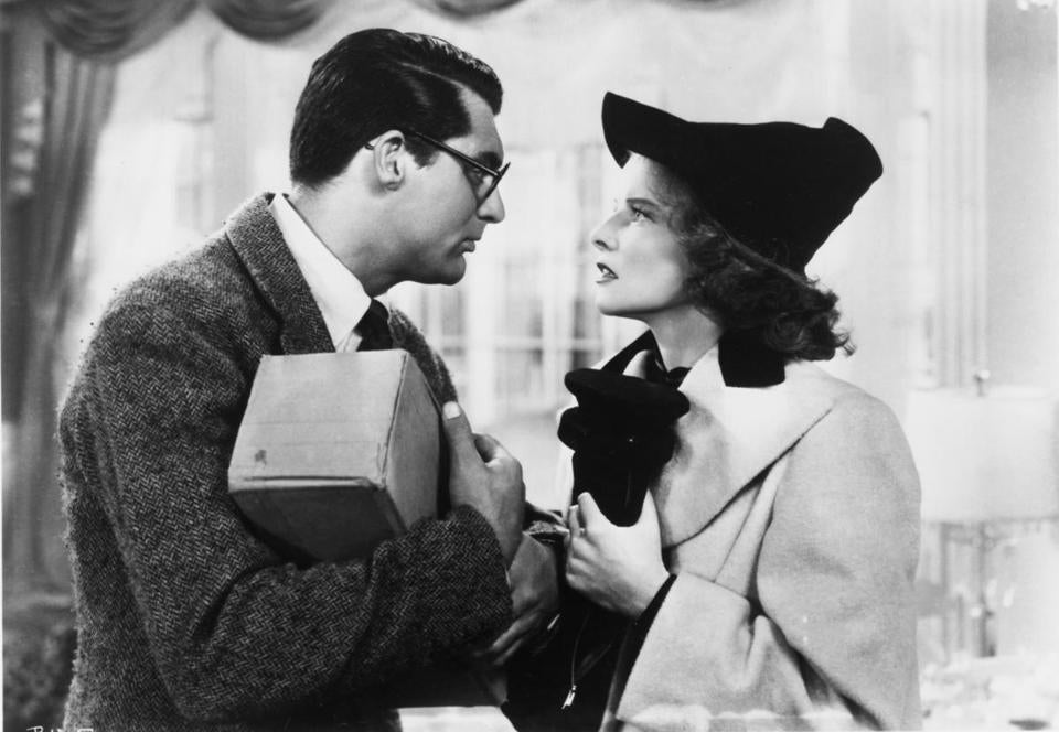 "Cary Grant and Katharine Hepburn in ""Bringing Up Baby."""
