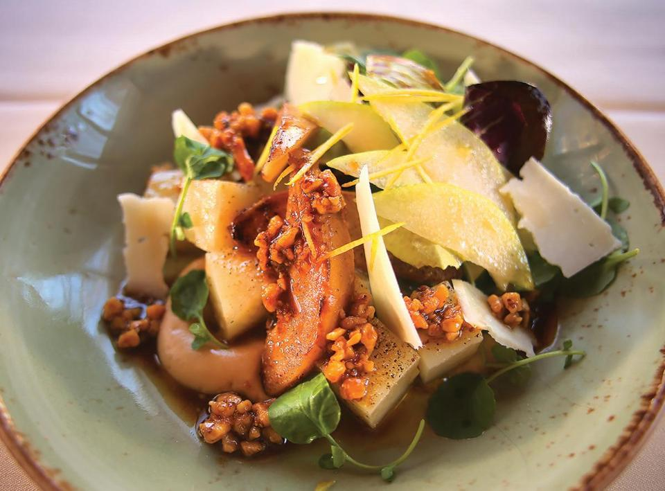 Cambridge, MA - 03/16/17 - Warm celery root and roasted pear salad at Benedetto, inside the Charles Hotel. (Lane Turner/Globe Staff) Reporter: (Nestor Ramos) Topic: (22dining)