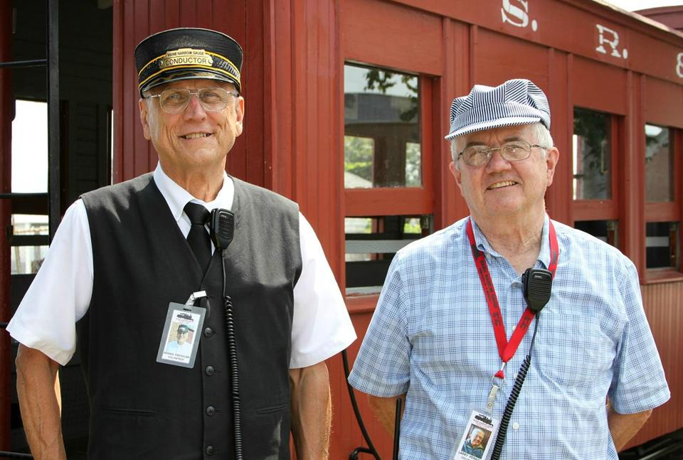 Conductor Dennis Pachulski, at left, and engineer Larry Perkins of the Maine Narrow Gauge Railroad Co. & Museum.