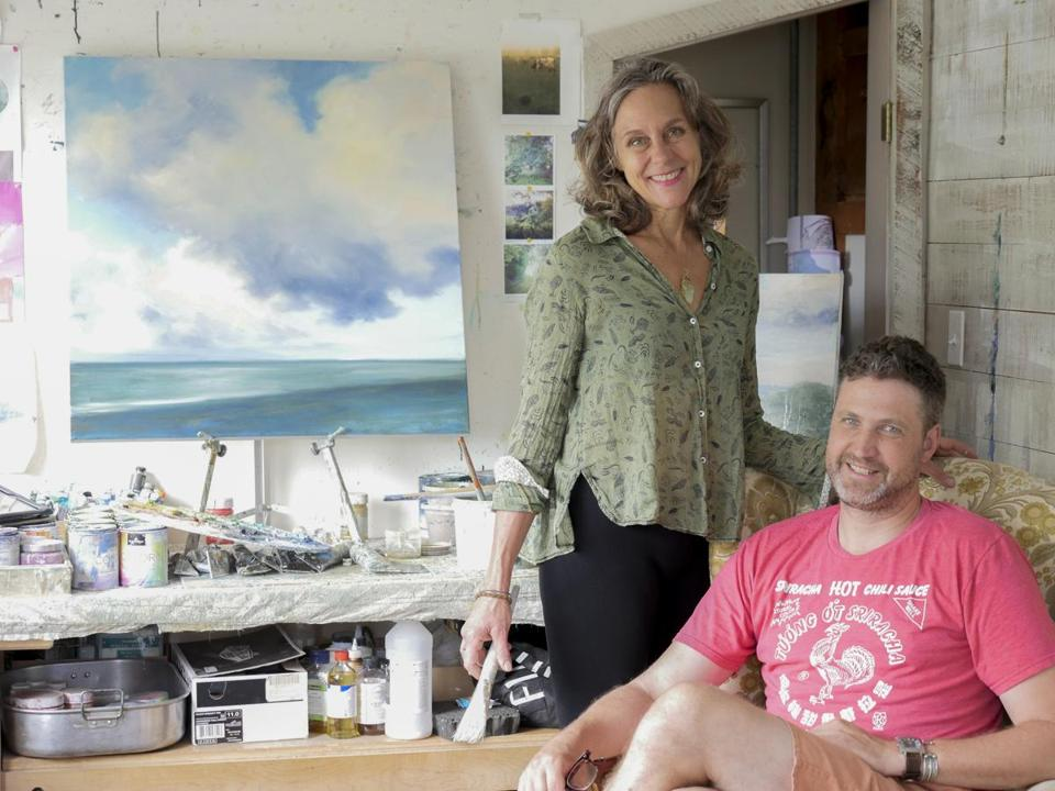 Owners Julia and Tim Purinton in her new art studio, formerly two bedrooms.