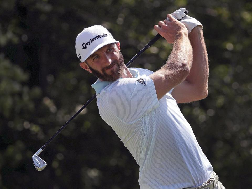 Norton, MA - 8/31/2017 - Dustin Johnson tees off on 17 during today's TPC Boston Pro Am. Dell Championship at TPC Boston in Norton. - (Barry Chin/Globe Staff), Section: Sports, Reporter: Correspondent, Topic: 01Dell Championships, LOID: 8.3.3582771279.