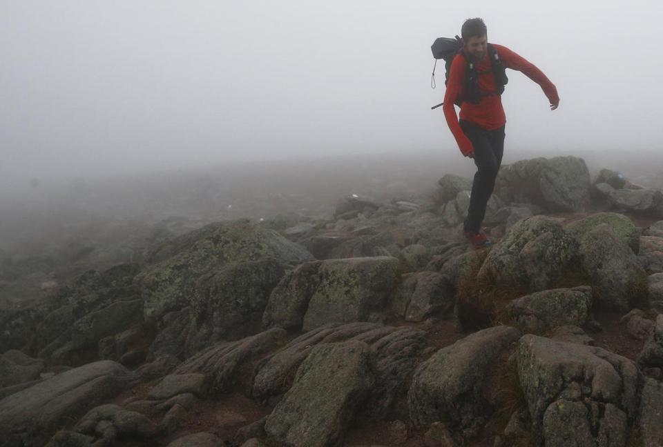 Joe McConaughy picked his way through the rocks as he ran toward the summit of Mount Katahdin. According to McConaughy, he hiked the 2,200-mile Appalachian Trail in an unofficial fastest known time of 45 days, 11 hours, 15 minutes.