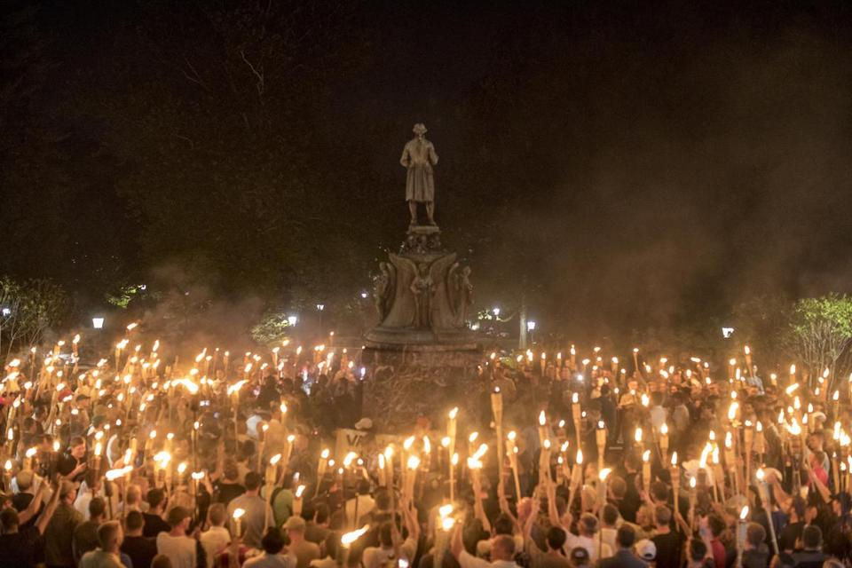 Hundreds of white supremacists demonstrated on the University of Virginia campus on Aug. 11.
