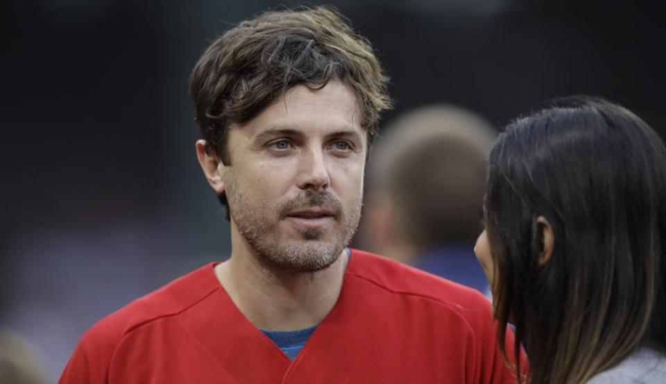 Actor Casey Affleck prior to a baseball game in Boston in August.