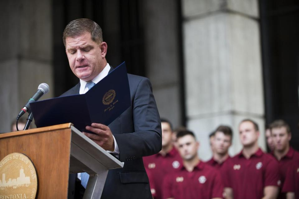 """Here in Boston, and certainly in Massachusetts, we don't need to point to any heroes in movies and story books because we're lucky enough to have a real-life hometown hero in our midst,"" Mayor Martin J. Walsh said Tuesday."