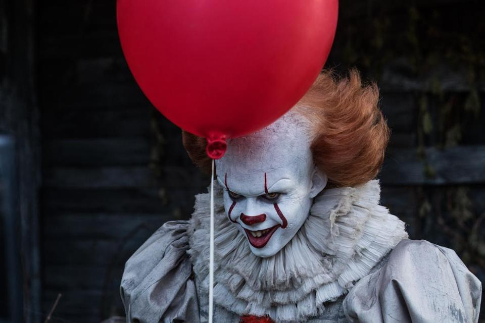 "Bill Skarsgard as demon clown Pennywise in the 2017 adaptation of Stephen King's ""It."""