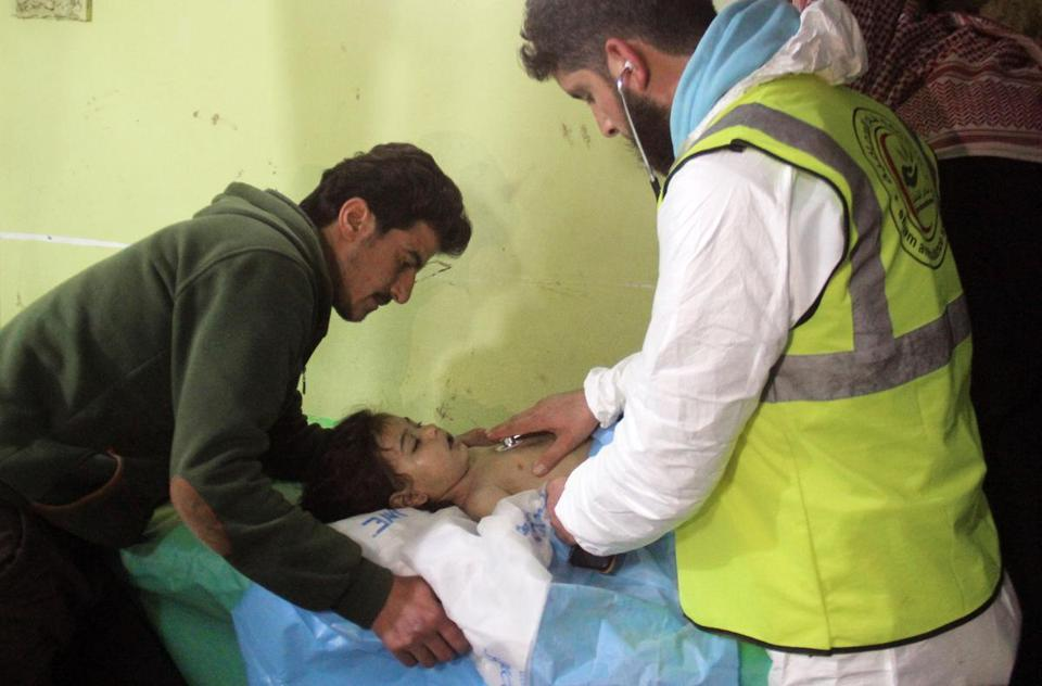 A Syrian child received treatment at a hospital in Khan Sheikhun following a suspected chemical attack last year.