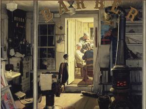 "Norman Rockwell's painting ""Shuffleton's Barbershop"" is estimated to fetch $20 million to $30 million at auction."