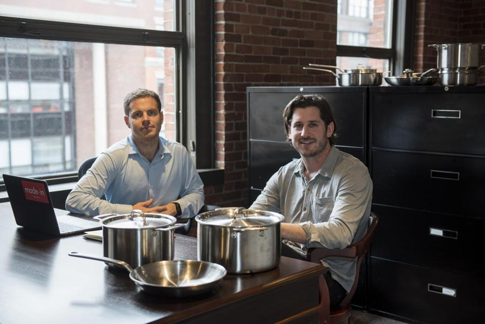 "Johnathan ""Jake"" Kalick, (right) and Bradford ""Chip"" Malt, (left) in their offices. Made-In is a kitchen where start-up that aimed to cut out the retail brick and mortar middleman of cookware sales, passing on the savings to the customer."