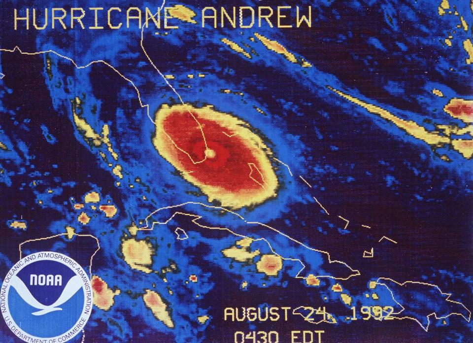 This Aug. 24, 1992 file image provided by NOAA shows a NOAA GOES-7 thermal infrared geostationary satellite image of Hurricane Andrew approaching landfall south of Miami.