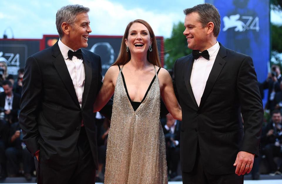 George Clooney, Julianne Moore, and Matt Damon walked the red carpet ahead of the 'Suburbicon' screening during the Venice Film Festival.
