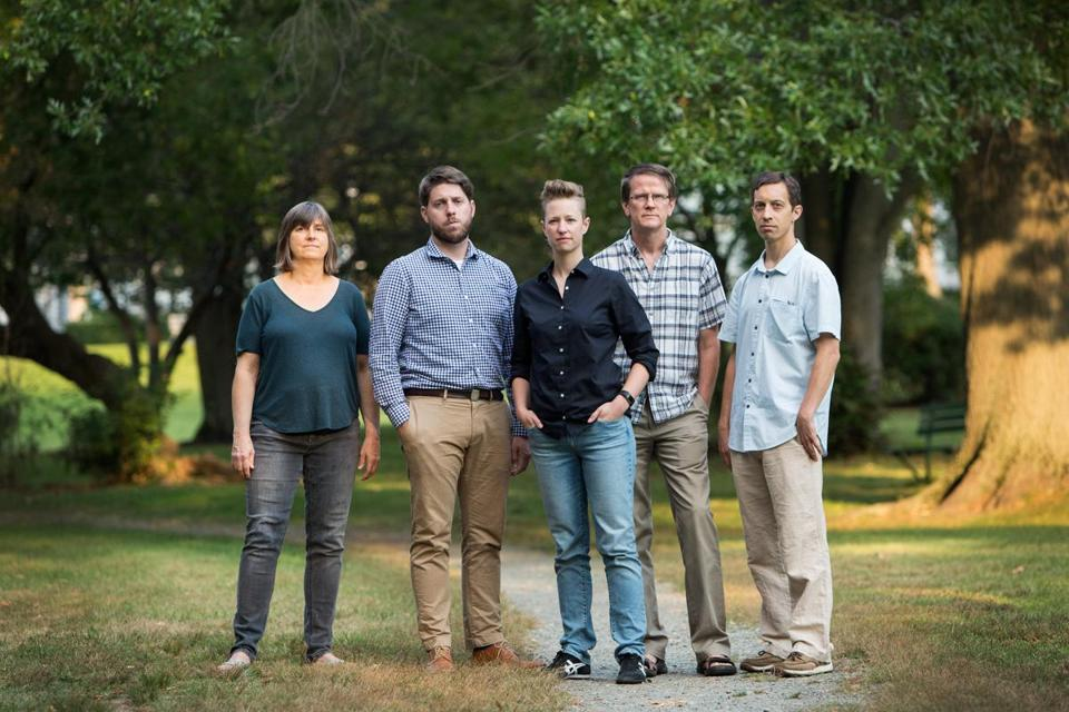 09/10/17 -- Belmont, MA -- L-R: Musicians Beth Welty, Ryan Noe, Kate Foss, Michael Hartt, and Ben Fox pose for a portrait on September 10, 2017, in Belmont, Massachusetts. All of these musicians say they are owed money by the Newport Contemporary Music Series. (Kayana Szymczak for The Boston Globe)
