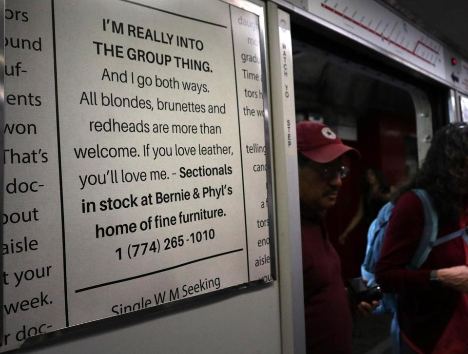 Bernie & Phyl's advertisement on a subway car on Monday.