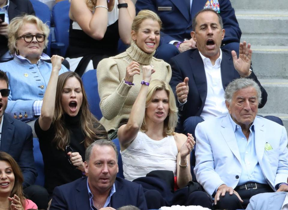 Among the crowd at the US Open men's final were Candice Bergen (top left), Jessica and Jerry Seinfeld (top right), Hilary Swank (bottom left), and singer Tony Bennett (bottom right).