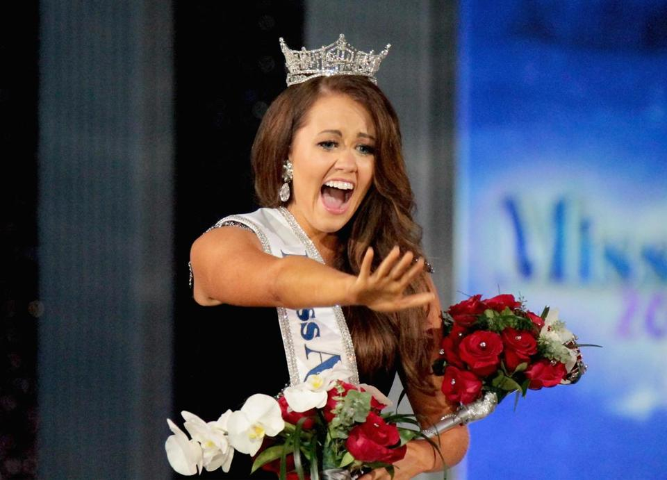 Newly crowned Miss America Cara Mund celebrated Sunday after winning the crown.