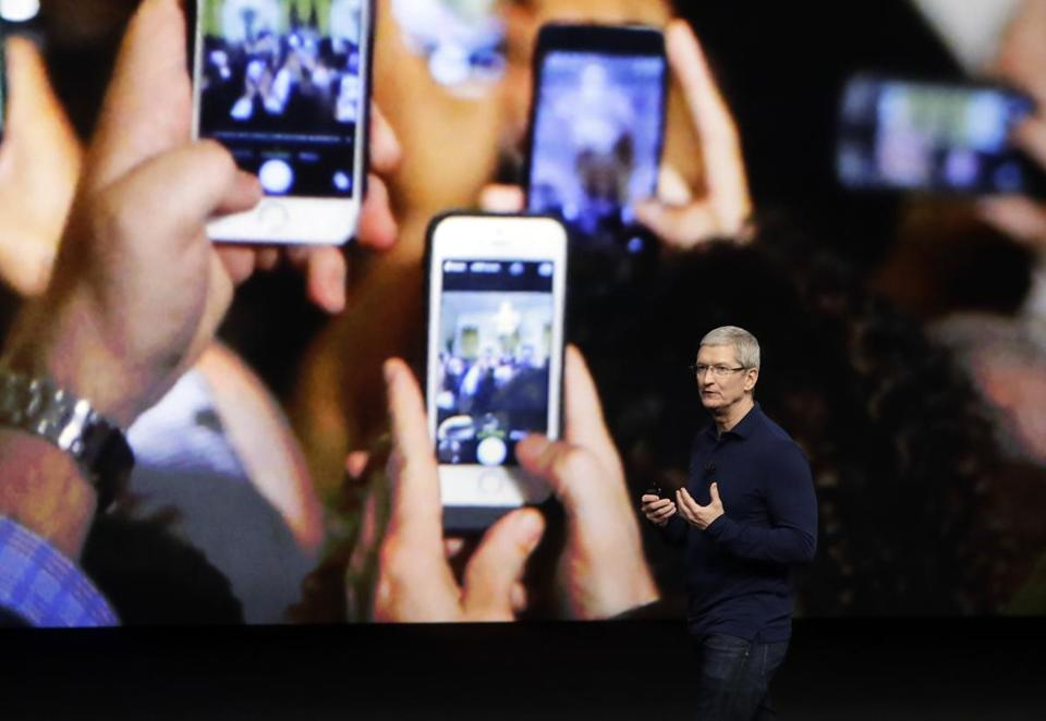 Tim Cook spoke during last year's Apple product launch. Tuesday's event is expected to feature three new iPhones.