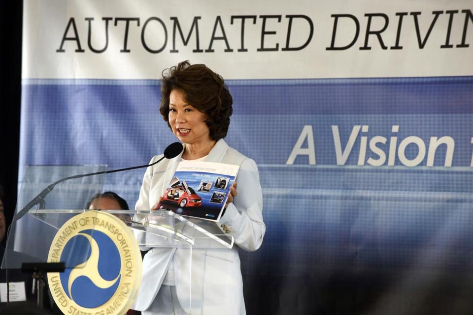 US Transportation Secretary Elaine Chao announced new voluntary safety guidelines for self-driving cars during a visit to an autonomous vehicle testing facility Tuesday at the University of Michigan, in Ann Arbor, Mich.