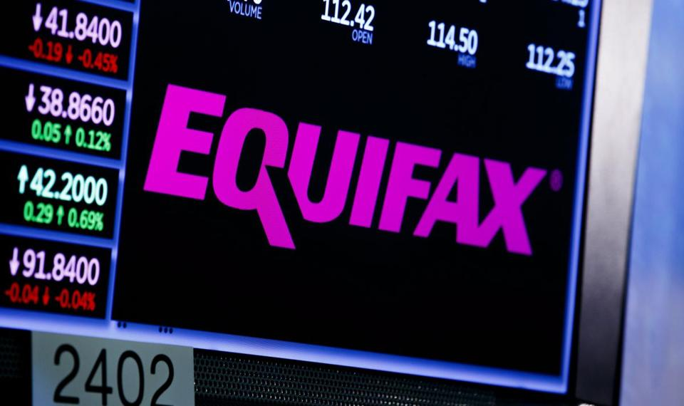 epa06200064 A view of a sign for the company Equifax on the floor of the New York Stock Exchange in New York, New York, USA, on 12 September 2017. The company recently disclosed that a data breach, discovered in July 2017, may have impacted as many as 143 million consumers in the United States. Equifax is one of the three main organizations in the US that calculates credit scores and has access to personal information including names, Social Security numbers, birth dates, addresses, some driver's license, and credit card numbers. EPA/JUSTIN LANE