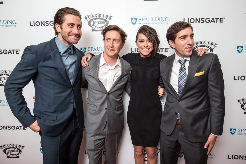 "From left: Jake Gyllenhaal, David Gordon Green, Tatiana Maslany, and Jeff Bauman before Tuesday night's screening of ""Stronger.''"