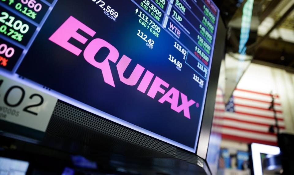 A view of a sign for the company Equifax on the floor of the New York Stock Exchange in New York on Tuesday.