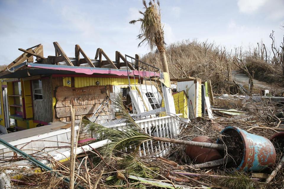 What was once a gift shop and restaurant in Cruz Bay, Virgin Islands, now lay in ruins.