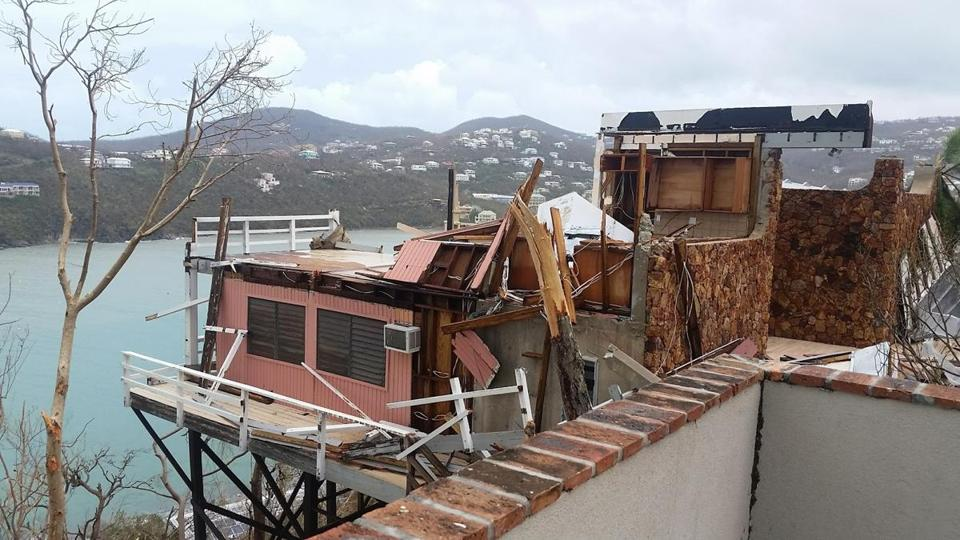 Buildings damaged by Hurricane Irma in St. John.