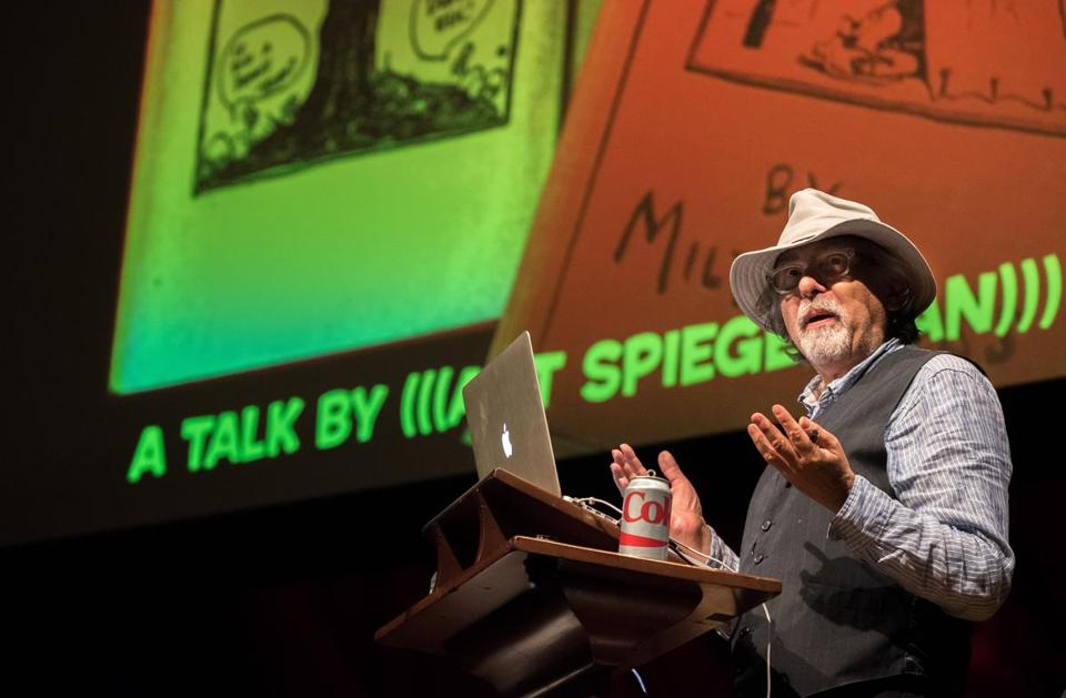 Art Spiegelman speaking at Sanders Theatre at Harvard.