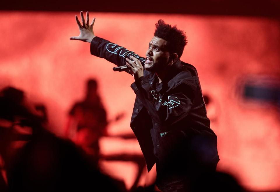 The Weeknd onstage at TD Garden on Tuesday night.