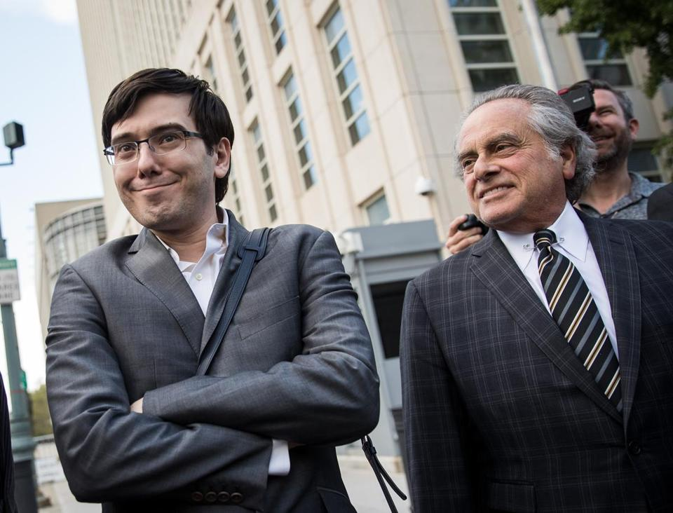 Former pharmaceutical executive Martin Shkreli and attorney Benjamin Brafman departed US District Court in Brooklyn on Aug. 3.