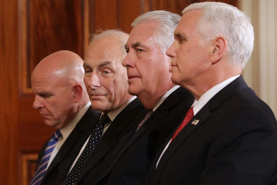 WASHINGTON, DC - AUGUST 28: (L-R) National Security Advisor H.R. McMaster, White House Chief of Staff John Kelly, Secretary of State Rex Tillerson and Vice President Mike Pence attend a joint news conference with U.S. President Donald Trump and Finnish President Sauli Niinisto in the East Room of the White House August 28, 2017 in Washington, DC. The two leaders discussed security in the Baltic Sea region, NATO and Russia during their meeting. (Photo by Chip Somodevilla/Getty Images) *** BESTPIX ***