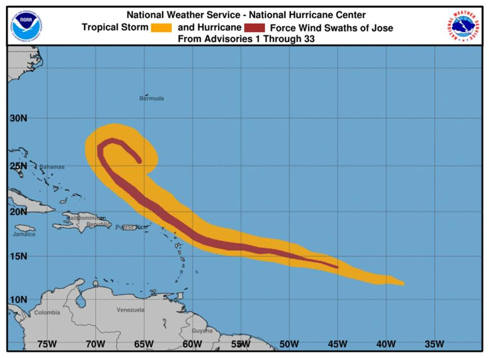 Jose is in the middle of making its loop.